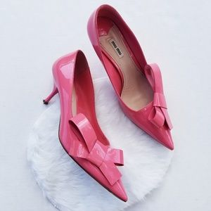 Miu Miu Pink Patent Leather Bow Pumps 41